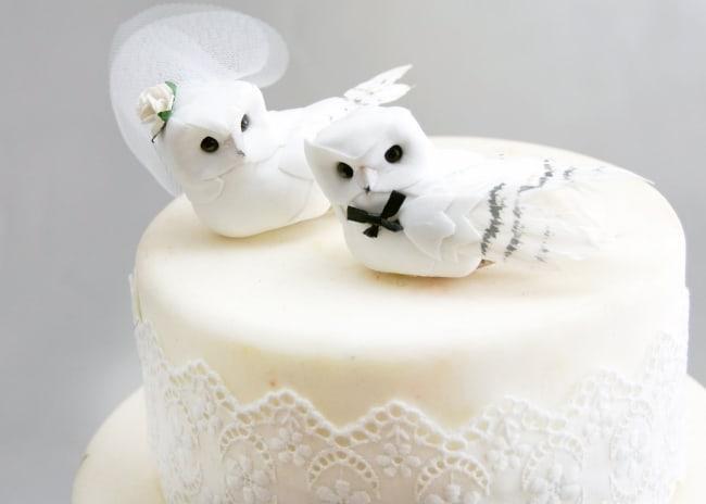 White Owls Cake Topper