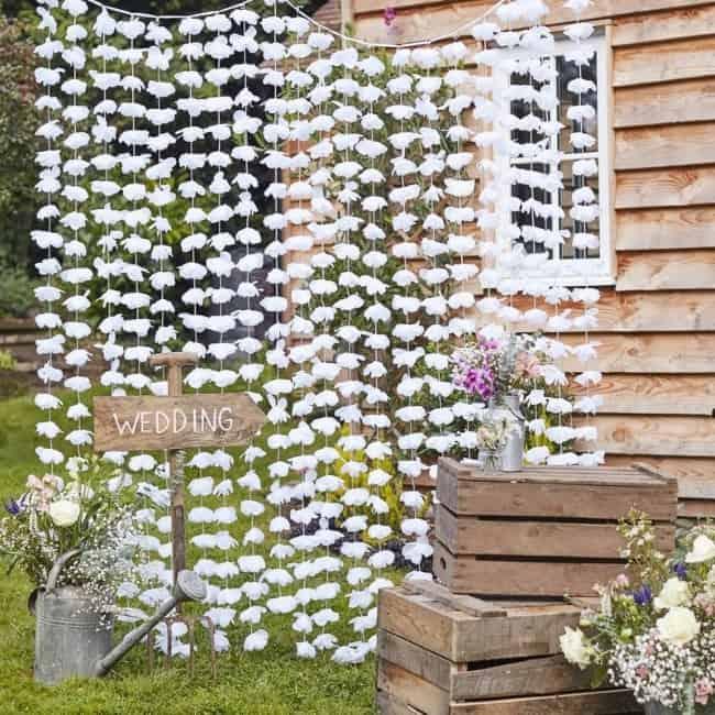 White Wedding Floral Photoboot Backdrop