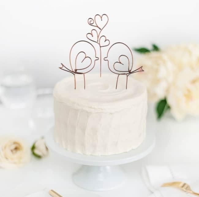 Wire Love Bird Wedding Cake Topper