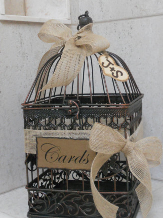 Wedding card box in the shape of a birdcage