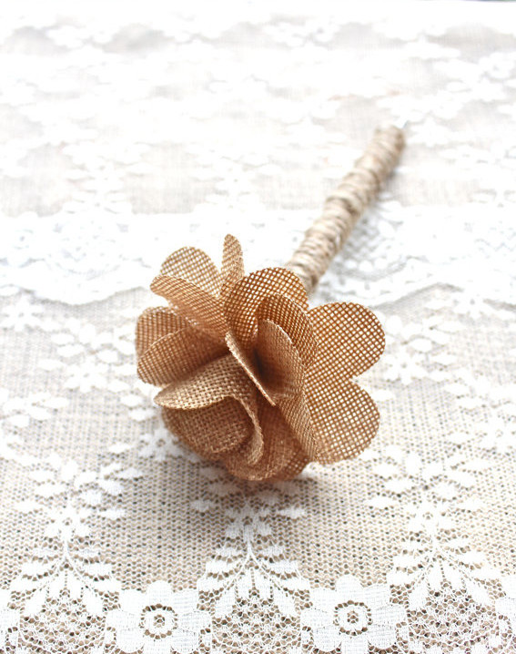 handmade burlap flower pen for guestbook