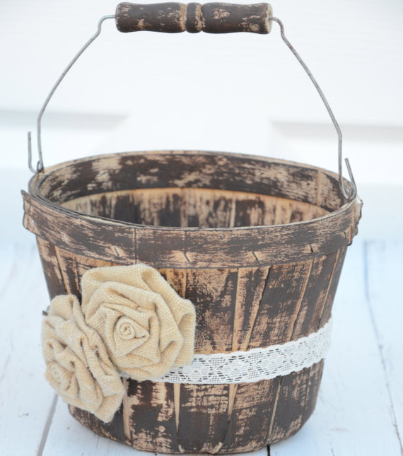 flower girl wood bucket