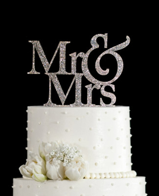 Silver sparkle Mr and Mrs wedding Cake Topper
