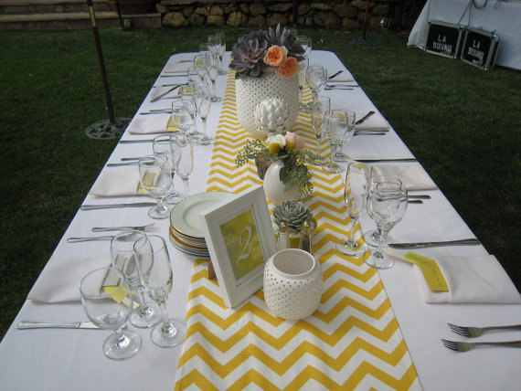 yellow chevron pattern table runner