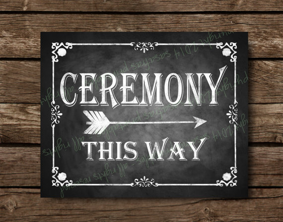 Chalkboard themed ceremony direction sign