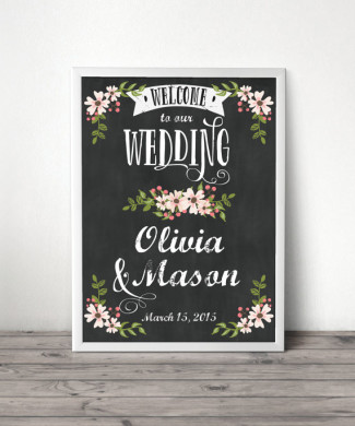 Chalkboard themed wedding welcome sign