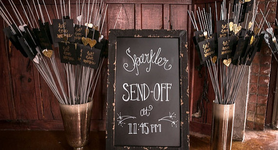 Wedding reception sparkler send off from etsy