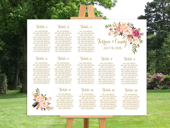 Floral seating chart for wedding reception off etsy