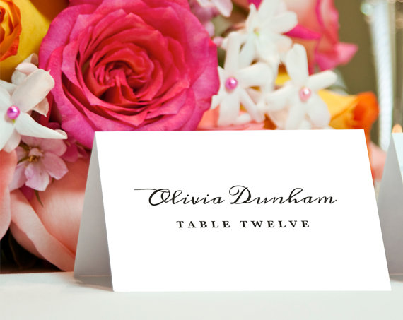 Custom place cards for wedding reception