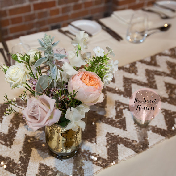 sequin pattern wedding table runners