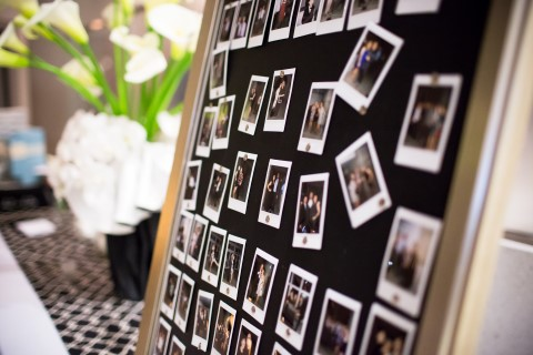 Table seating chart using pictures of the guest for wedding reception