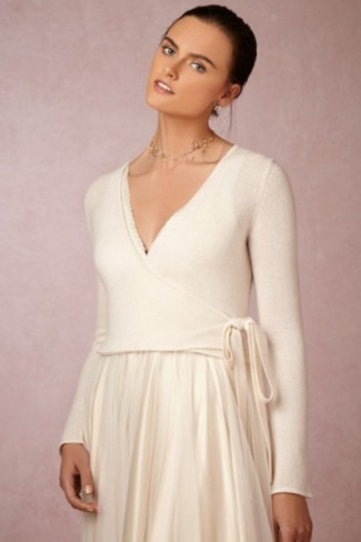 BHLDN 100% cashmere wrap in ivory