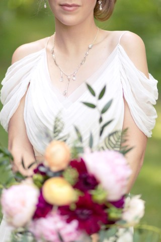 Bride wearing necklace and earrings from Miscellaneous Artist