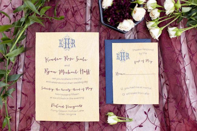 Yellow, blue and read wedding invitations with a blue envelope
