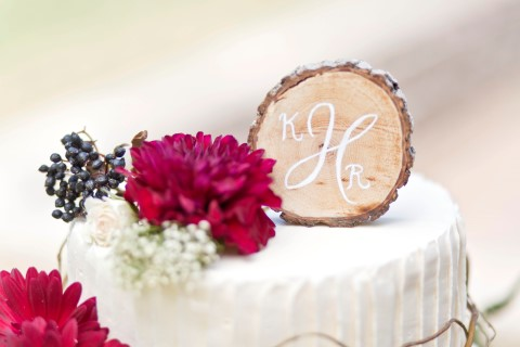 Rustic Wood cake topper created by Brown and Nash Designs