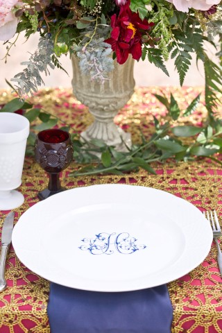 Monogrammed China for wedding reception created by Sasha Nicholas
