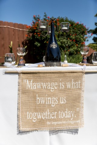 """mawwage is what bwings us togwether today"" burlap sign"