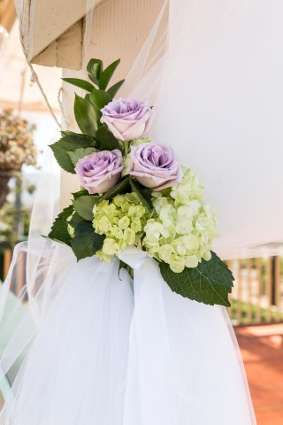 Purple flower with white hydrangeas for wedding reception decor