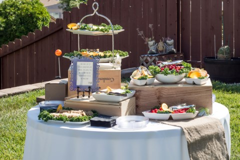Wedding reception food catered by Cali Comfort