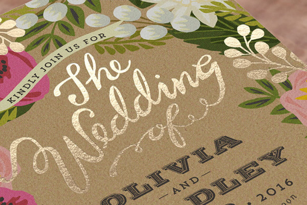 example of foil stamping wedding stationery technique