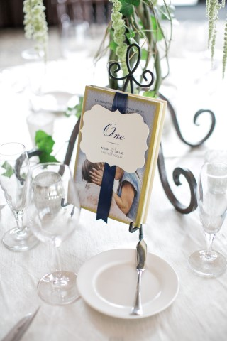 The Notebook themed table number for wedding reception