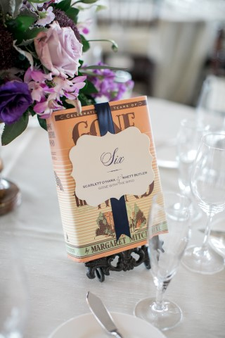 Gone with the wind Book themed table number for wedding reception