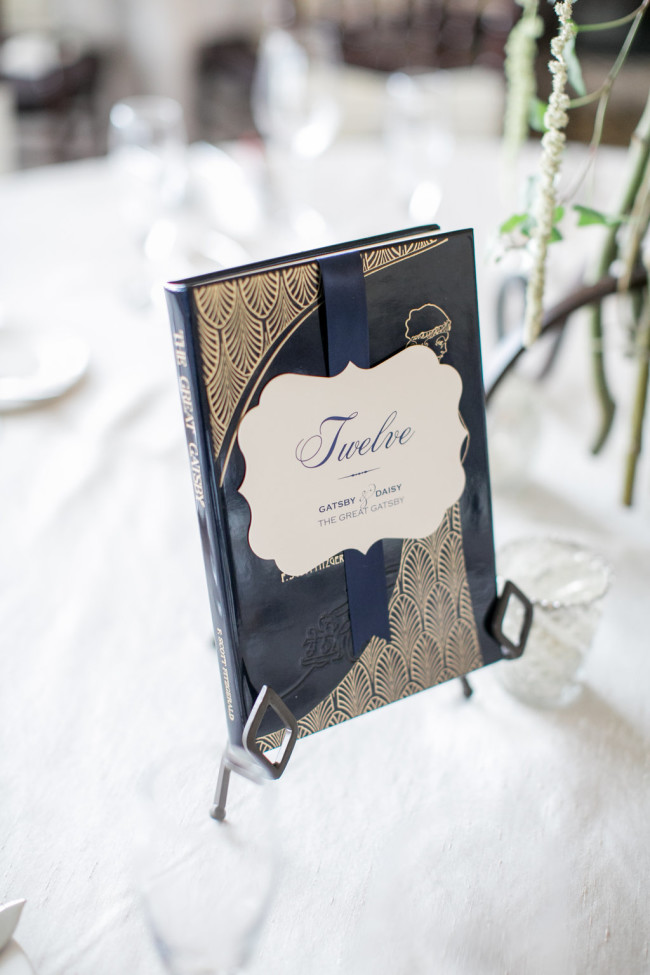 Book themed table number for wedding reception