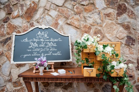 Wedding table for guests to leave their advice to the bride and groom