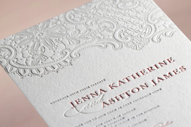 example of letterpress wedding stationery