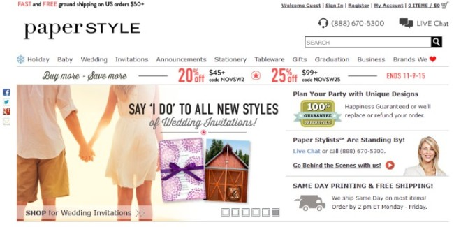 Paperstyle.com homepage screen