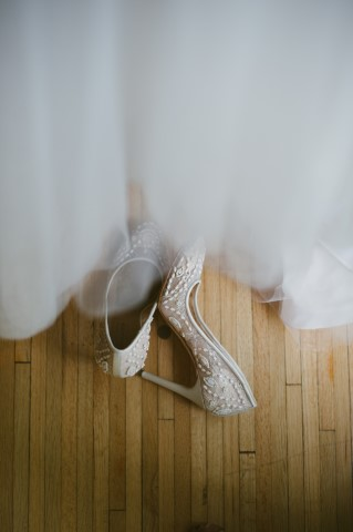 Pointed BCBG bridal heels with pearl detailing