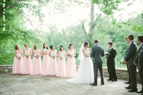Outdoor wedding ceremony at Darby House in Ohio