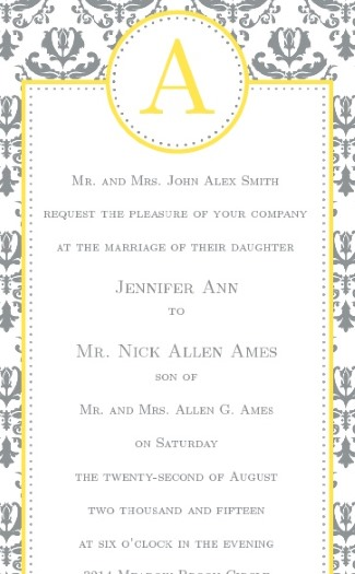 basic invite damask design