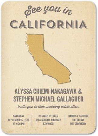 california state wedding invitation from WPD