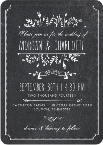 chalkboard invitation design from Evermine