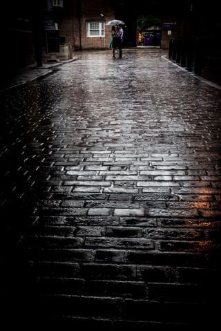 Engagement shoot on cobble stone street in London