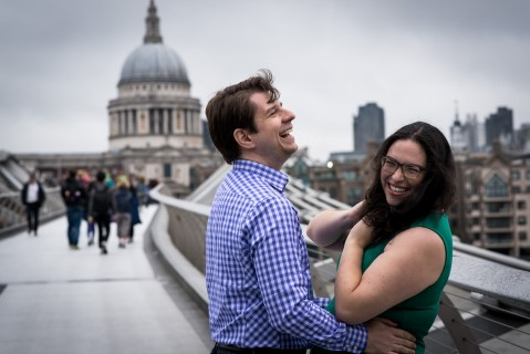 Engagement shoot with St Paul's Cathedral in the background captured by Matt Badenoch photography