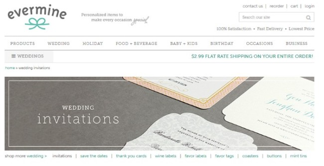 evermine wedding invitations review homepage screenshot