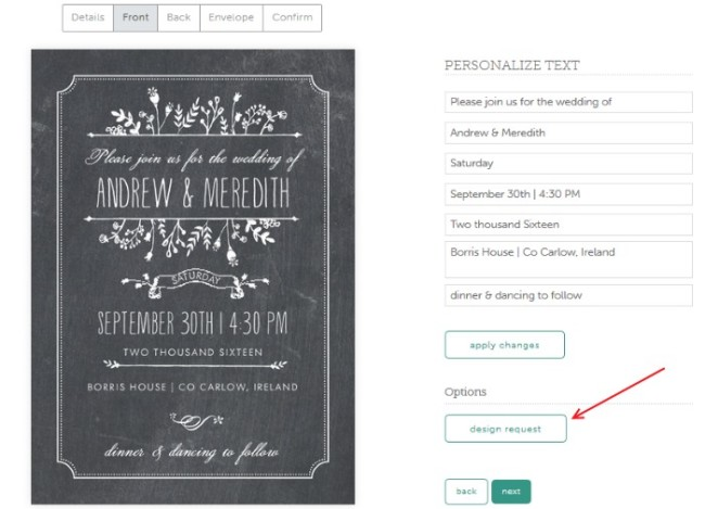 evermine personalize invites