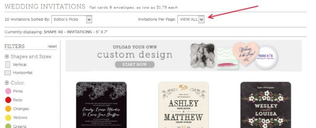 evermine wedding stationery filters