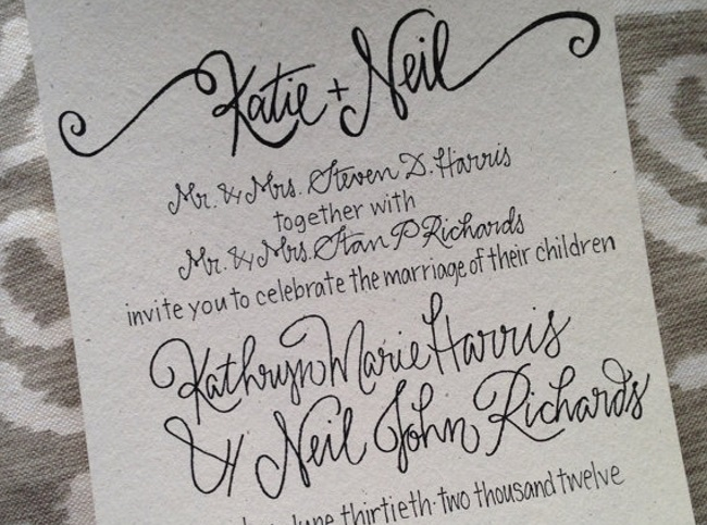 example of calligraphy wedding stationery