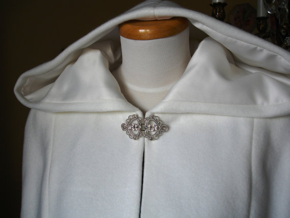 white bridal cape with clasp