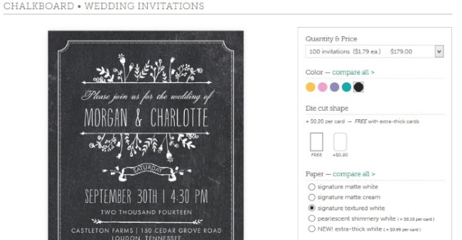 select options for chalkboard invite
