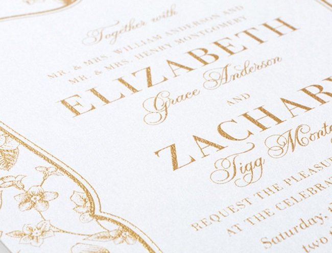 example of thermography wedding stationery