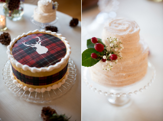 Plaid themed wedding cake with stag