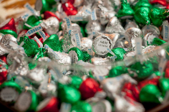 Green, red and silver Hershey kisses