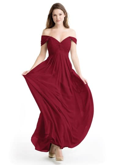 Burgundy Bridesmaids dress for christmas wedding