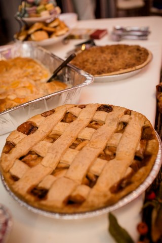 fall themed Dessert table at wedding reception