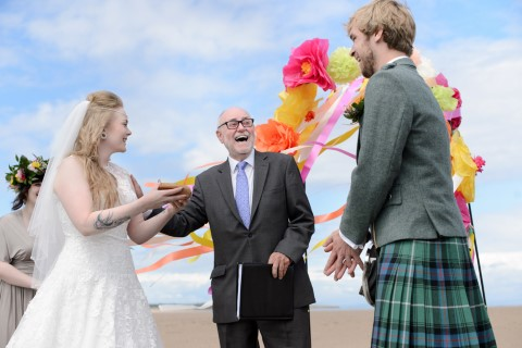 Beach wedding in Scotland performed by Humanist Celebrant Ivan Middleton