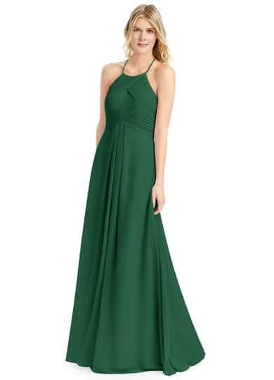 Dark green bridesmaid gown for winter wedding